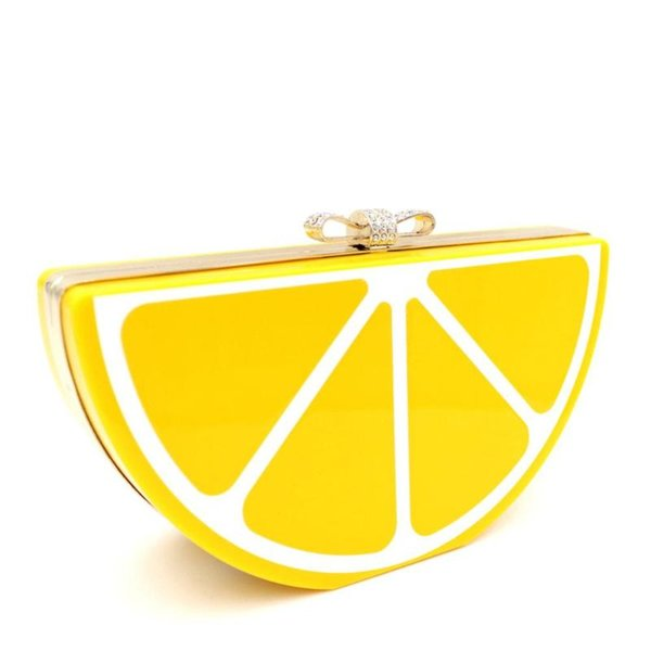 women acrylic lemon evening bags purses clutch vintage banquet handbag (546531619) photo