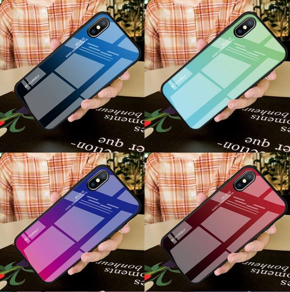 Tempered gla   phone ca e for iphone x  max xr x 8 7 6 6  plu  ca e  gradient color  oft tpu back cover for apple dhl  hipping