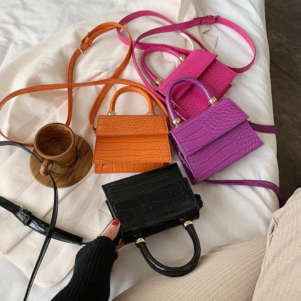 women solid flap messenger purse retro alligator leather fashion shoulder bags pu leather crossbody handle purse (546860404) photo