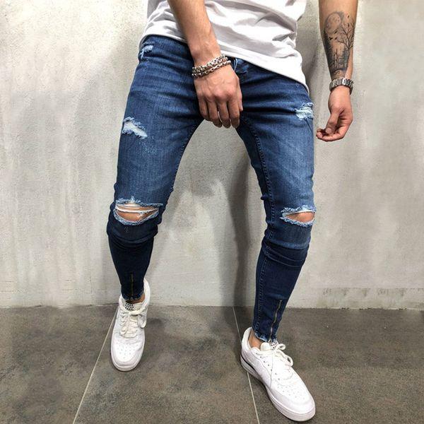 2019 Men blue Knee Ripped Skinny Jeans Streetwear distressed Destroyed Slim Elastic cowboy Hip-hop Hole Joggers Denim pants