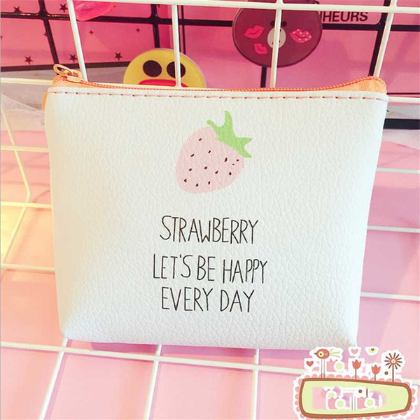 pu leather coin purses small wallet ladies change purse child girl pink strawberry mini zipper pocket (509273396) photo