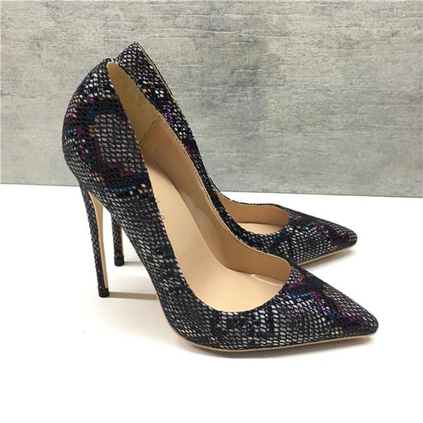 2019 бесплатная доставка мода женщины леди новый черный питон змея кожа Poined пальцы на высоких каблуках туфли на шпильках туфли на каблуках насосы 12 см 10 см фото
