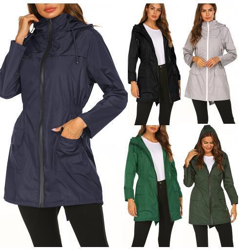 Four Seasons can wear new waterproof lightweight raincoat hooded Collect waist outdoor windbreaker mountaineering jacket women