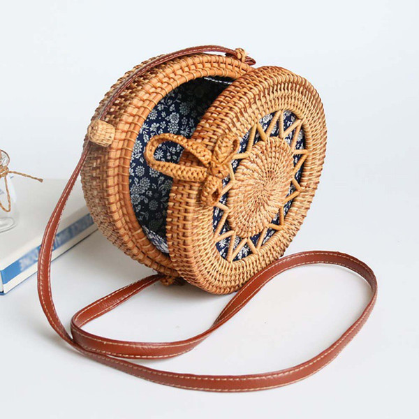women handwoven round rattan bag handmade shoulder straw bag crossbody purse with handles hollow-carved hasp (499560941) photo