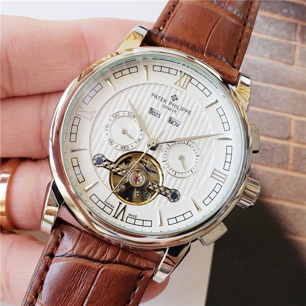 New men's watches business casual calendar year stainless steel dial leather strap automatic mechanical watch men's mechanical фото