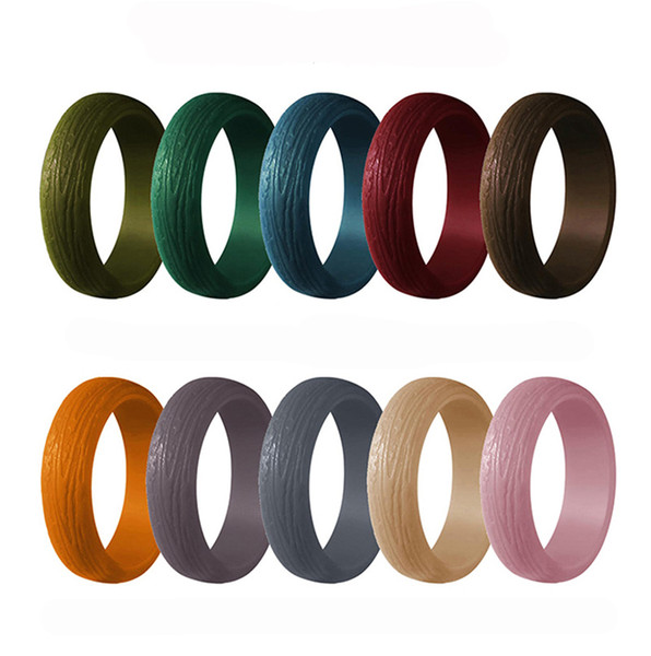 10pack tree bark grain silicone rings Silicone Wedding bands for Women size 4-10