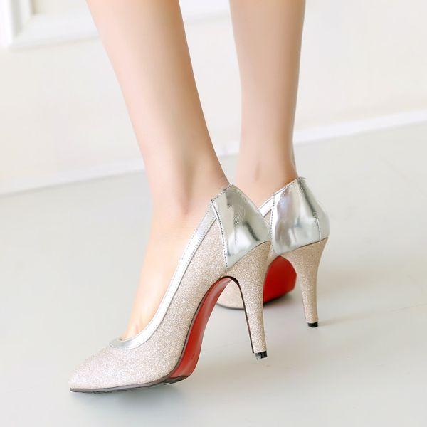 Большой размер 11 12 13 женские туфли на высоком каблуке женские туфли-лодочки на тонком каблуке одиночные туфли для банкета с заостренными и неглубокими ногами фото