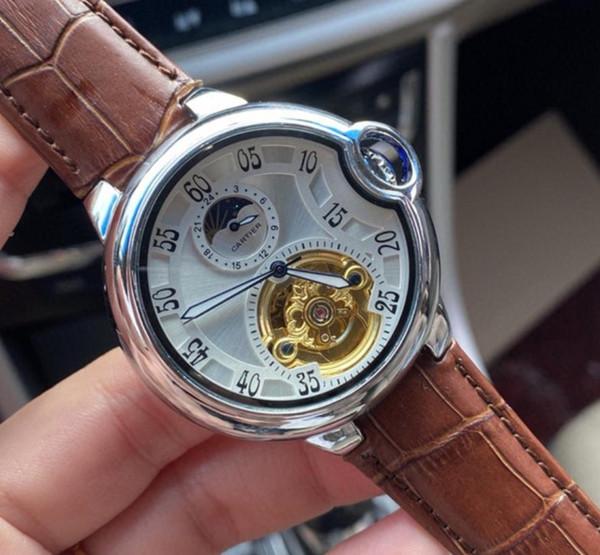 Мужские высококачественные модные топ роскошные швейцарские часы кожаный турбийон часы автоматические мужские часы механические мужские часы фото