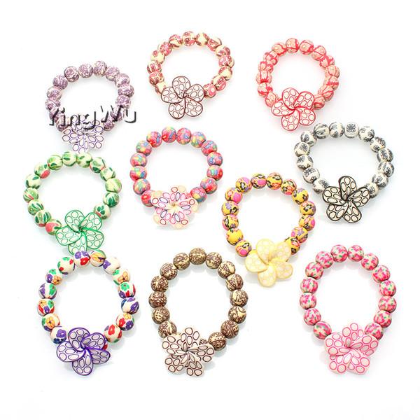 mode_12mm_perle_artisanats_argile_polymère_bracelets_en_gros_10pcs_style_bohème_extensible_bracelets