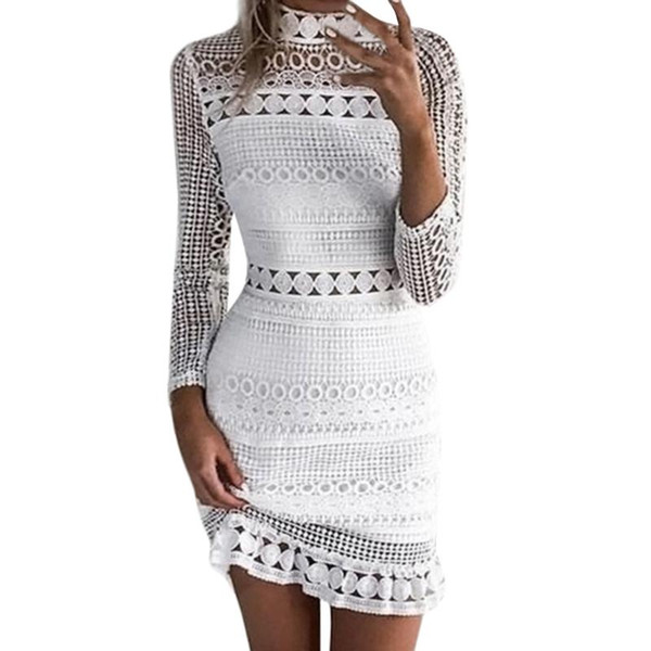 Elegant Ladies White Lace Dress Summer Hollow Out Women Long Sleeve One Piece Dress Wedding Party Dresses Vestido Spring Autumn