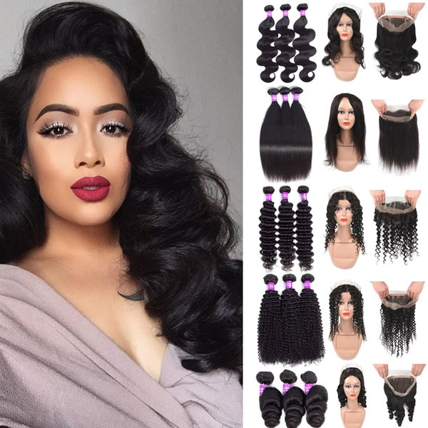 9a brazilian deep wave curly virgin human hair bundle with 360 lace frontal clo ure human hair weave 3 bundle with 360 frontal