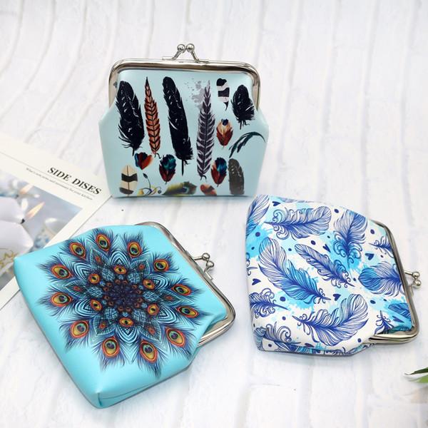 vintage women feather printing coin purses girl hasp zero wallet ladies clutch change purse female mini money bag pu leather (437837323) photo