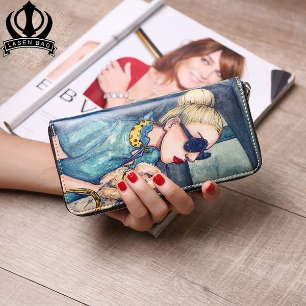 pretty women genuine leather wallets women ladies long leather clutch wallet with zipper cut anime wallet with card holder purse (483538412) photo