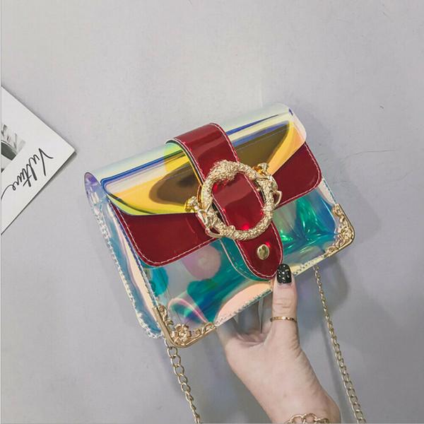 women pvc mini chain bag fashion transparent clear tote shoulder crossbody handbag purse jelly purse wallets handbag satchel new (461221403) photo