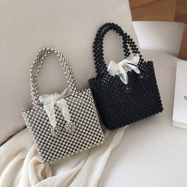 handmade women's pearl bag hand-knitted beaded handbag bead shoulder crossbody bag evening clutches purses ladies hand bags (477203251) photo