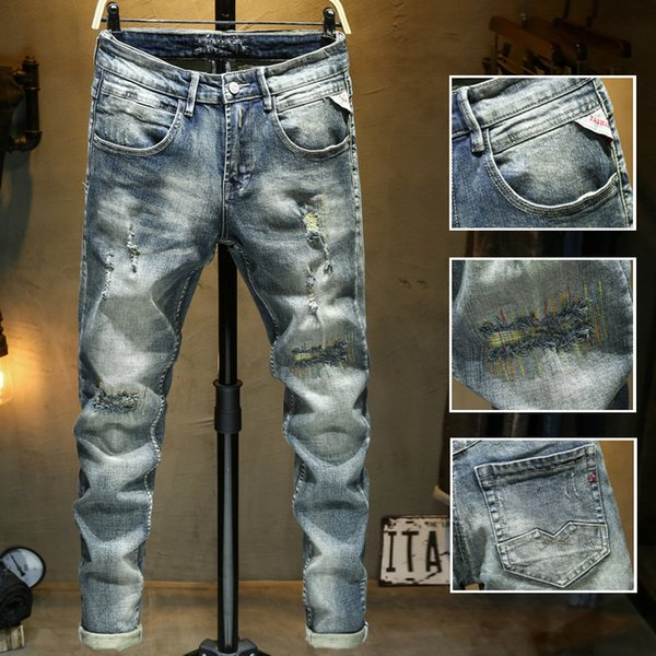 2020 new diesel mens distressed ripped biker jeans slim fit motorcycle denim for men luxury designer hip hop mens good quality фото