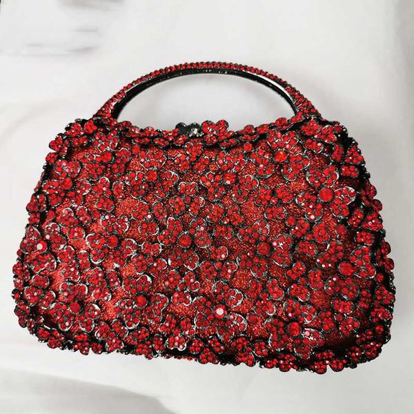 best wedding purse red rhinestone-kristall-blumenabendtasche clutches weibliche partei-beutel mini prom abendessen (537073024) photo
