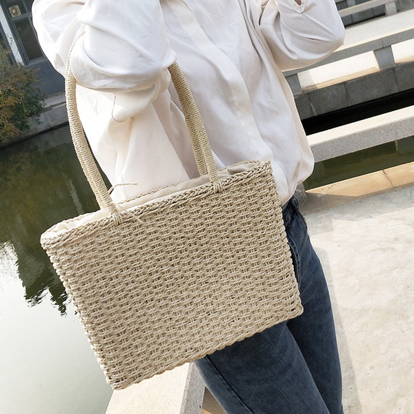 new handmade simple and elegant solid color square straw bag womens handbags and purses (535030277) photo