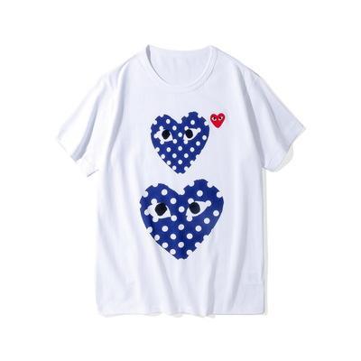 Любовник COM Качество Мужчины Женщины Commes Черный Новый CDG Вышитые Двойное сердце коротким рукавом футболки вышивки Красное сердце Tee фото