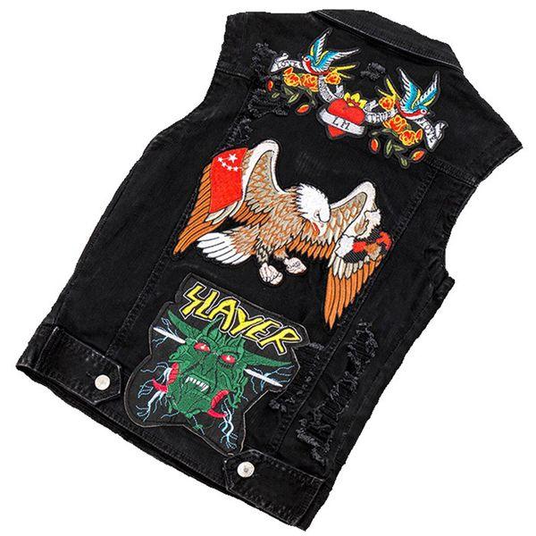 Embroided Jeans Waistcoat Men Denim Vest Patchwork Mens Summer Sleeveless Jackets Punk Rock Biker Animal Flower Appliques Hiphop