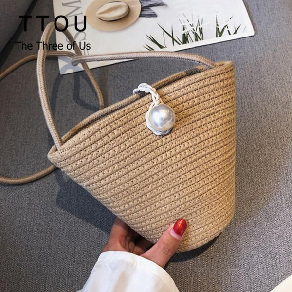 summer pearl design straw bags for 2020 women shoulder messenger bag handmade female travel beach bag ladies purses and handbags (527542170) photo