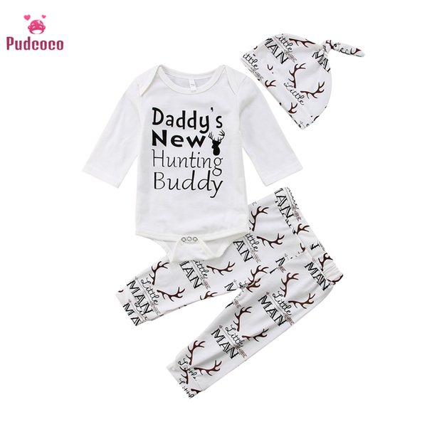 pudcoco infant toddler newborn baby boys clothes girls  long sleeve bodysuits pants hat fall jumpsuit baby clothing set