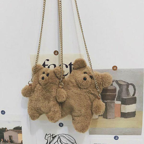 women girl cute animals clutch shoulder messenger plush casual bags fashion sweet fur soft multifunction coin purses crossbody (507577080) photo