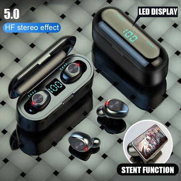 Беспроводные наушники Bluetooth V5.0 F9 TWS наушники наушники LED дисплей с 2000mAh Power Bank Гарни фото
