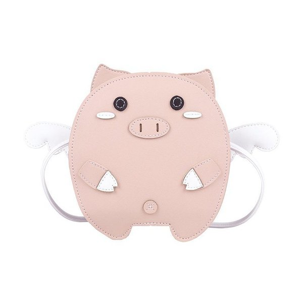 funny pig pu leather candy color young girl's shoulder bag tote crossbody mini bag women clutch purse handbag (542492853) photo