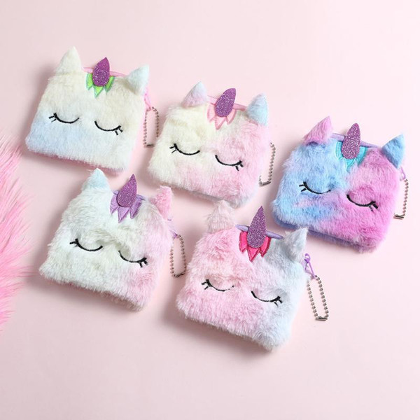 cartoon plush animal coin purse girl clutch embroidered bag key earphone organizer cute zipper purse bag for kid gift (522166983) photo