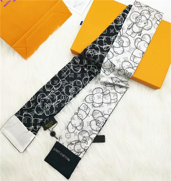 2019 новый бренд шелковый шарф Шарф тонкий печати шелковый шарф мода мужчины и женщ фото
