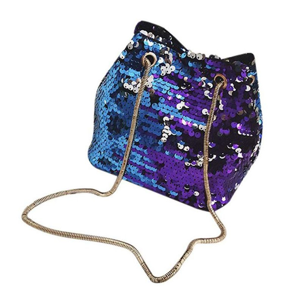 new-women sequins bag fashion handbag purse glitter shoulder bag evening party clutch for girl(blue) (496703578) photo