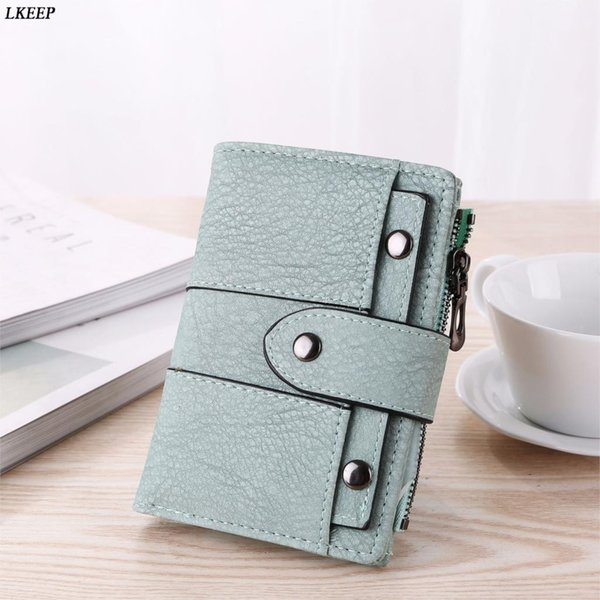 2018 new vintage leather women wallet female coin purses small pocket wallet short rivet hasp zipper handy purses clutch bags (436473082) photo