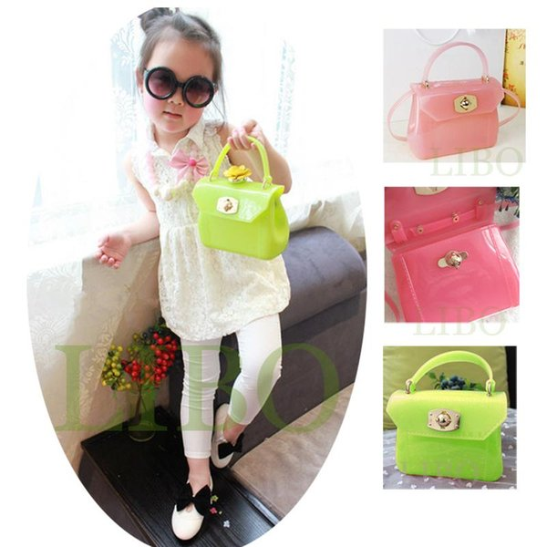 new children candy color shoulder bag girl baby new mini handbag jelly patent transparent purse tote pvc messenger bag xmas gife (519906486) photo