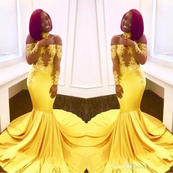 Elegant yellow off the houlder lace prom dre e 2019 formal long leeve mermaid applique atin arabic evening gown plu ize