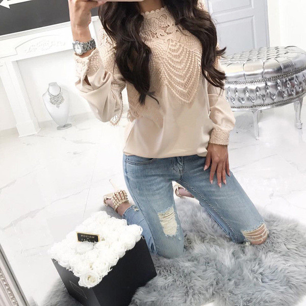 womens blouses and  fashion loose lace shirt women long sleeve blouse pullover ladies blouses casual autumn female
