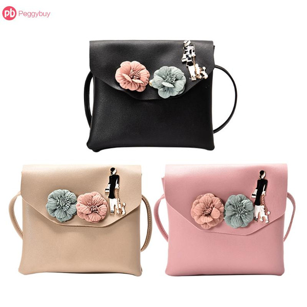 pu leather mini handbag women elegant flower clutch vintage flap fashion purse messenger bag square girl crossbody shoulder bag (492840155) photo