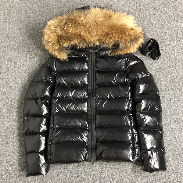 Womens Down jacket fur hood Sashes winter Parkas White duck down coats Raccoon Fur Black women Down jacket bomber jacket S-XL (UK S=L)