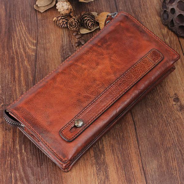handbag retro genuine leather purse multi-function long wallet first layer cowhide large capacity clutch bag men wallet (435692583) photo