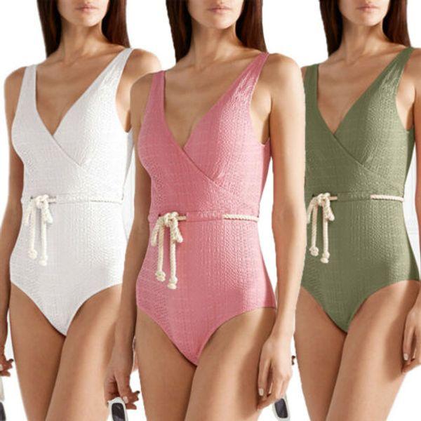 local stock waistband swimwear one-piece solid women swimsuit push up padded beachwear backless monokini girl high waist