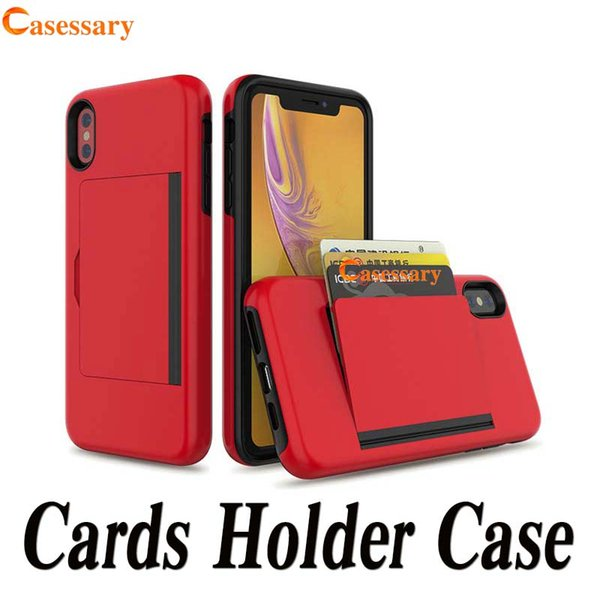 Hybrid armor dual layer card holder defender ca e  for iphone xr x  max 8 7 6  am ung a9 note 10 plu   10 5g