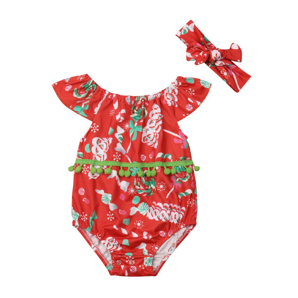red ruffled floral print newborn baby girl 2020 spring sleeveless tassel romper bodysuit outfit clothes 0-24m