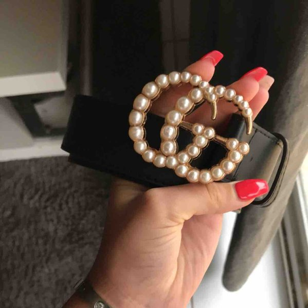 new Classical Brass Belt Luxurys Designer S GG Pearl Buckle Belts For Mens Woman Girdle Jeans Waist Belt