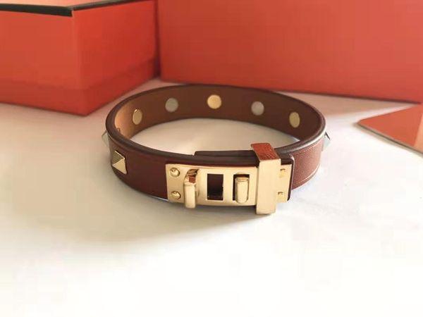2020 designer jewelry women bracelets stainless steel metal rivet mens bracelets leather nail bracelet fashion party bracelet h bangle фото