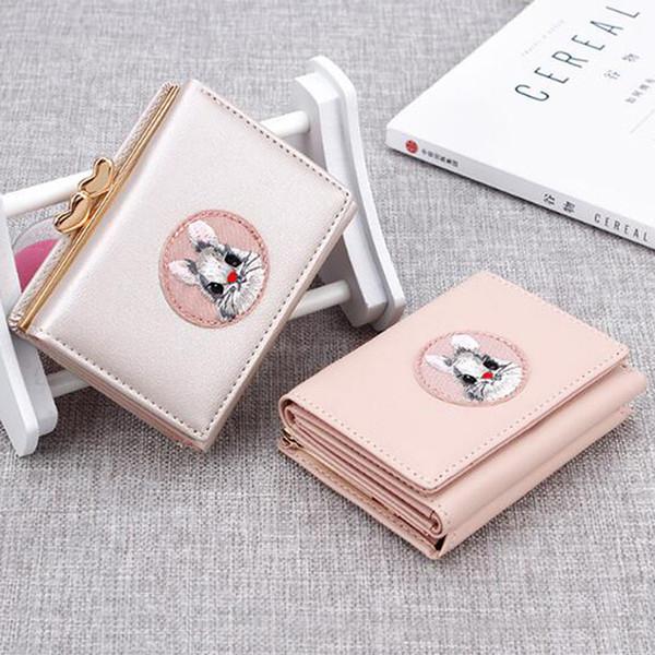 cute kawaii girl short women wallets multifunction wallet cloth sticker purses& wallets portable folder card holder (520274332) photo