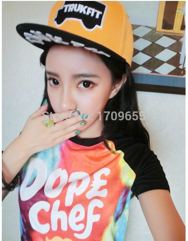 Wholesale Korean version of the Street trendsetter white baseball cap hip hop Bboy flat brimmed hat hip hop slide die flying plate cap
