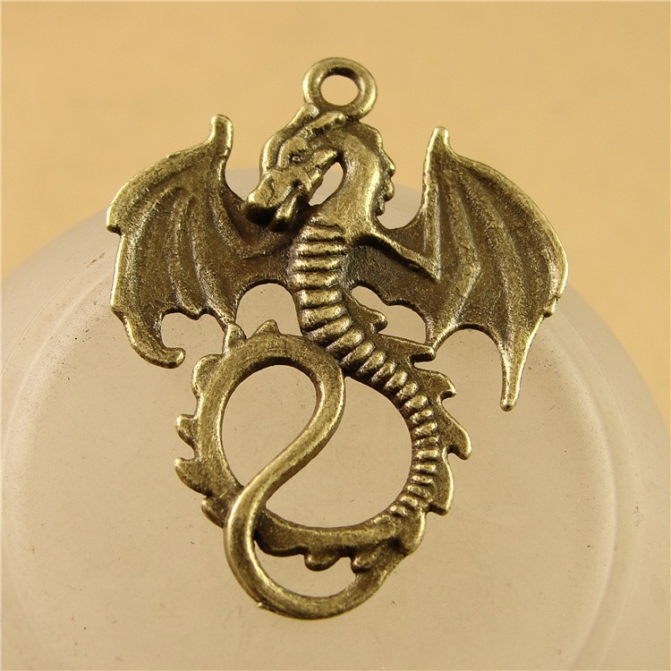 Wholesale New Style Flying Dragon Charms Antique Bronze Charm Dragon Pendant Fit DIY Craft A3719