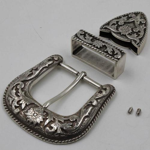 western belt buckles - Western Antique Sil Ver Engraved Belt Buckle Set quot WIDE BELT MM