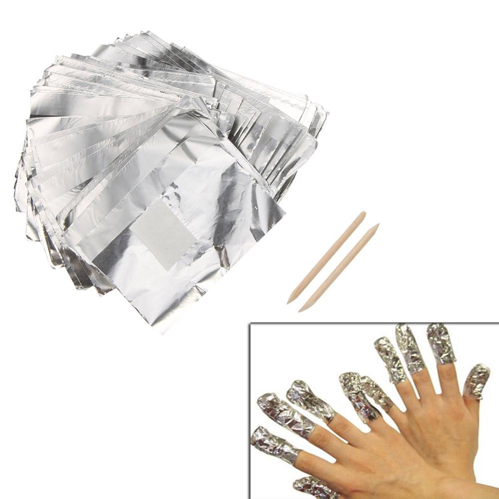 aluminum foil - 100pcs Aluminum Foil Paper Nail Art Soak Off Gel Wraps Gel Polish Remover Cleaner Tool Set W268