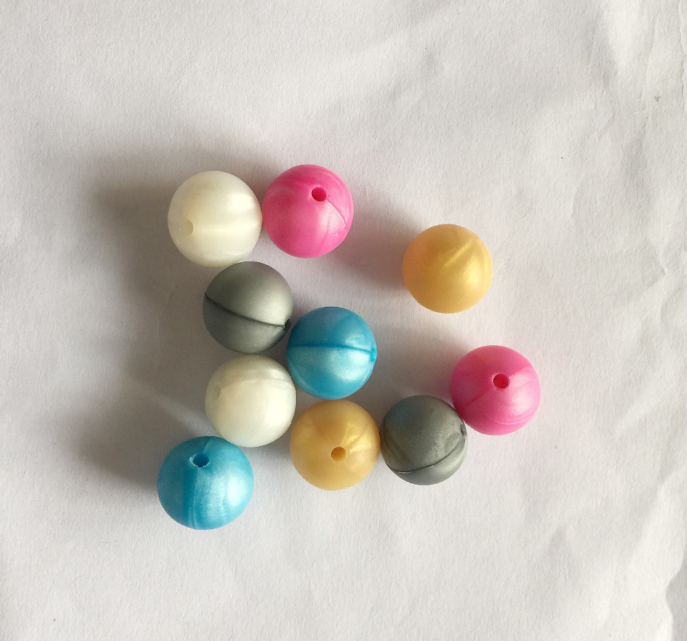 100 pcs Silicone chewing  teething beads, food grade. Round 15mm, pearl white,pearl blue,pearl fuchsia..
